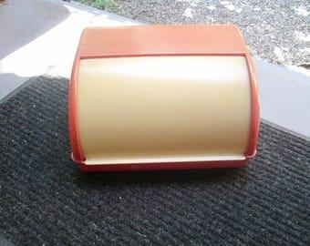 1950s Lustro Ware Red Bread Box / Vintage Roll Top Plastic Bread Box