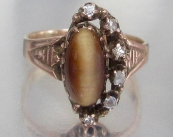 Antique Victorian Diamond Crescent Moon & Tiger's Eye Dark Side of the Moon Rose Gold Ring 10K
