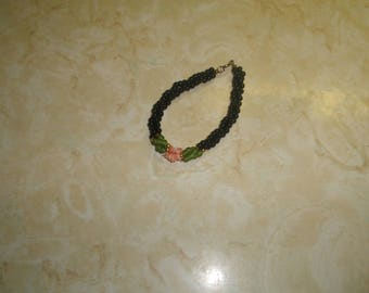 vintage bracelet black jade coral glass beads braid