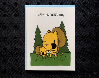 mother's day card, screen printed card, cute greeting card