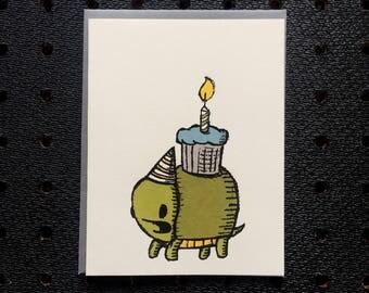 turtle cupcake birthday card, cupcake birthday card, turtle birthday card, birthday card, cute birthday card, kids birthday card