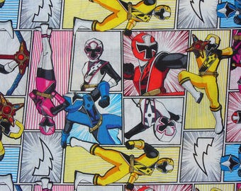 Power Rangers Fabric, Cartoon Characters, TV Characters, TV Show, Collage Style, By the Yard, Cotton fabric