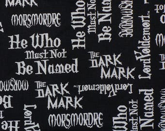 New Harry Potter Fabric, Lord Voldemort, Harry Potter Characters, Names and Words,  Dark Mark, New Release, By the Yard, Cotton Fabric