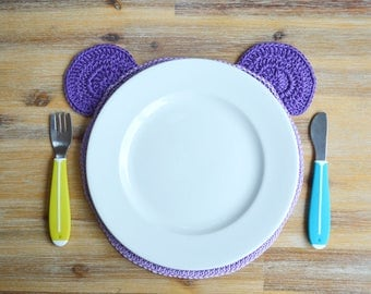 Crochet Purple Teddy Placemat - Pastel Lavender 100% Cotton Crochet Children's Tableware Made To Order Table Mat