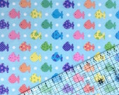 BTY Fish Snuggle Flannel Fabric By The Yard