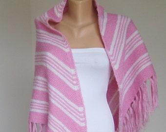 Vintage Large Fringe Shawl, Victorian style Hand Knit Shawl, Pink White Striped Wrap, Boho Triangle Shawl, Women Rustic Accessory, Long 60