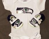 Seahawks Set - Seahawks Baby Booties and Seahawks Onesie - Handmade - from 0 - 18 Months
