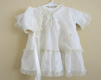 1950s Baby Girl Chirstening Outfit White Nylon 4 Pieces Ruffles and Pearls  Little Folks Giftwear NYC 649b