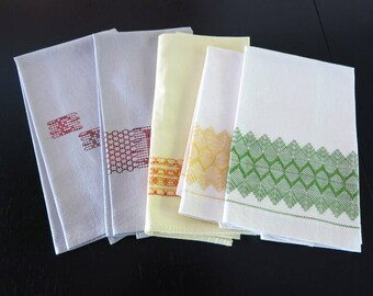 5 Kitchen Towels Cotton Huck Swedish Weave Designs Gray Yellow Green Red Orange 739b