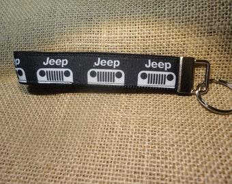 Black Jeep  Ribbon on webbing, Key Fob or Key Chain