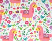 Pink Llama Flannel Fabric, 100 Percent Cotton, 1 yard cut