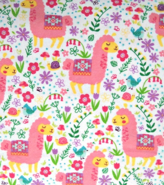 Pink Llama Flannel Fabric 100 Percent Cotton Fabric By The
