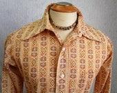 """70s 15"""" 417 Van Heusen Men's Big Collar Shirt Disco Orange Print"""