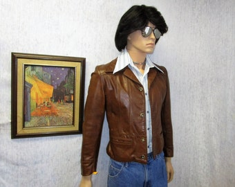 "70s S 36"" Leather Bomber Jacket Brown Reed Sportswear"
