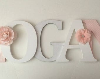 Wooden  letters for nursery in blush pink,white and gray