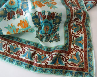 vintage scarf- Specialty House, polyester, made in Japan, floral, flourish, aqua