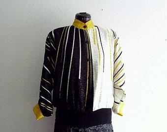 Vintage 1980s Batwing  satin shirt