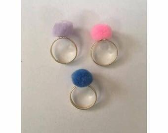 Small Pom Pom Rings