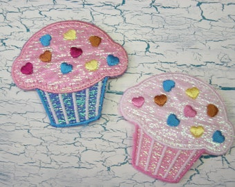 """Pink Sparkle Cupcakes Patches Appliques Iron On 1 3/4"""""""