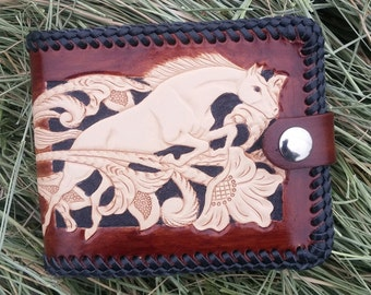 Handmade Leather Wallet with Coin Pocket and Snap Closure