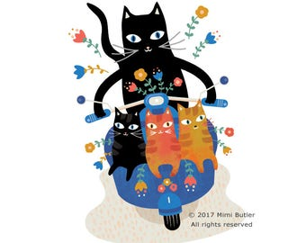 Bon Voyage - Cat on bike print - Cats on a bike - Cat Prints - Cat Lovers - Cat art print