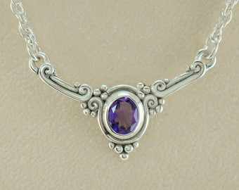 P694- Sterling Silver Amethyst Necklace- One of a Kind