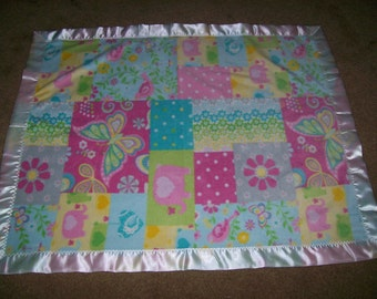 Polar Fleece Baby Blanket with Satin Binding in Pastel Colors