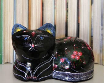 Hand-painted Black Cat - Folk Art Home Decor