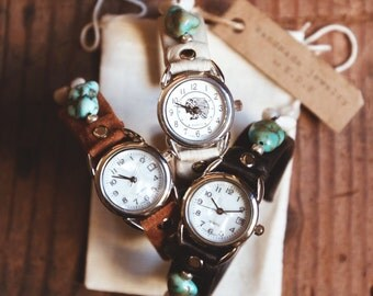 CWC-10, handmade adjustable shell and turquoise leather cuff watch