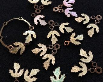 Guilloche ENAMEL leaves . leaf finding.  cloisonné  leaf. vintage supply.  assemblage   No.00843 -10