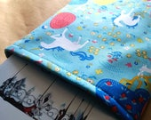 SALE--Unicorn Flowers Fox Rabbits Fantastical Trees Book Sleeve