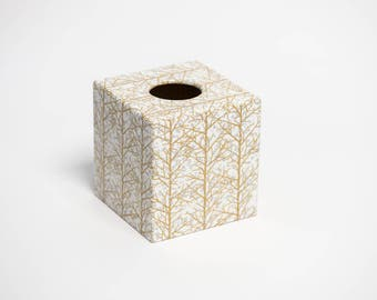Gold and Silver Trees Tissue Box Cover Holder wooden handmade in UK