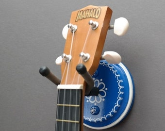 End of Year Sale Blue & White Instrument Wall Hanger Hook for Ukulele, Fiddle, Mandolin, Violin or Guitar - Ready to Ship