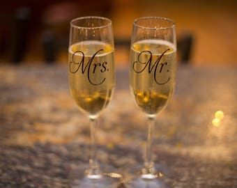 Mr and Mrs toasting flutes ON SALE, Engagement gift idea, Bride and Groom celebration, champagne toast, wedding day glasses, toasting flutes