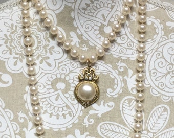Sweet Vintage Assemblage Pearl Necklace, One of a Kind