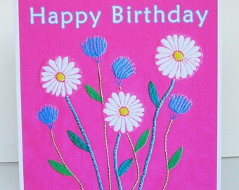 Birthday Card, Daisy Card for Her, art card, Recycled Card, female birthday card