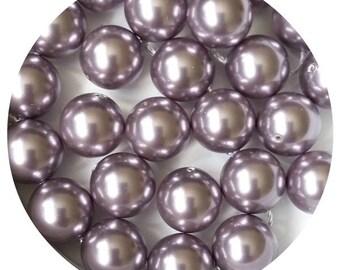 10 Mauve Swarovski Crystal Pearls