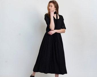Pre Winter Sale 15% Placket trim maxi dress-Maxi black dress.