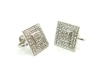 Art Deco Geometric Earrings. Square Stepped Milgrain Sterling Silver, Marcasites. Screw Backs. Vintage 1980s Jewelry