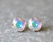 SALE Aurora Borealis Stud Earrings Swarovski Crystal Earrings Light Swarovski Pastel Rainbow Super Sparklers Studs Mashugana