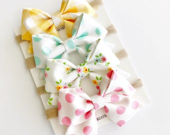 Baby Headbands - Baby Bows - Baby Bow Headband - Pastel Sailor Bows - Nylon Headbands - Baby Girl Headband - Fabric Bow Clips -Baby Bow Clip
