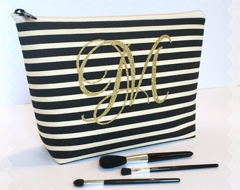 Monogram Cosmetic Bag ,  Black Creme Stripe , Gold Glitter , Bridesmaid Maid of Honor Gift , Personalized Medium Travel Accessory Makeup Bag