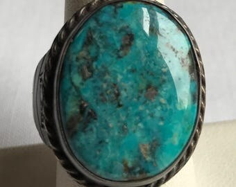 Large Sterling Silver Marbled Blue Turquoise Ring-Size 9 1/2