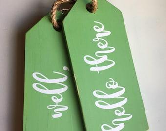 LIMITED EDITION - Jumbo Tag door hanging - wall decor - Wood - Handpainted Chalkboard tags - Fully customizable