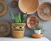"""Vintage 10"""" Woven Basket or Plant Holder"""