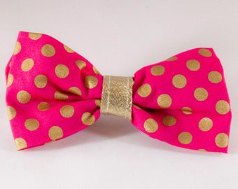 Pink and Gold Polka Dot Dog Bow Tie