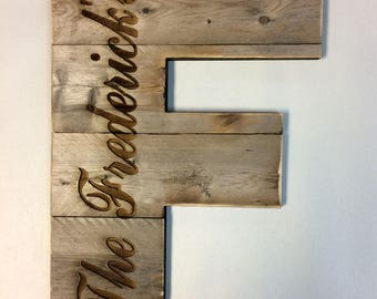 "Large Rustic Wood Letter 12""-20"" Tall  Engrave Family Name Any Letter, Farmhouse, Cabin Industrial Decor, Barn Style"