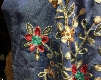 Vintage styled sheer denim blue flower embroidered wrap Shawl