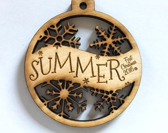 Summer - Customizable Baby's First Christmas Ornament - Engraved Birch Wood Ornament