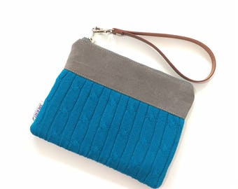 SALE - Cable Knit Sweater Wristlet in Bright Blue